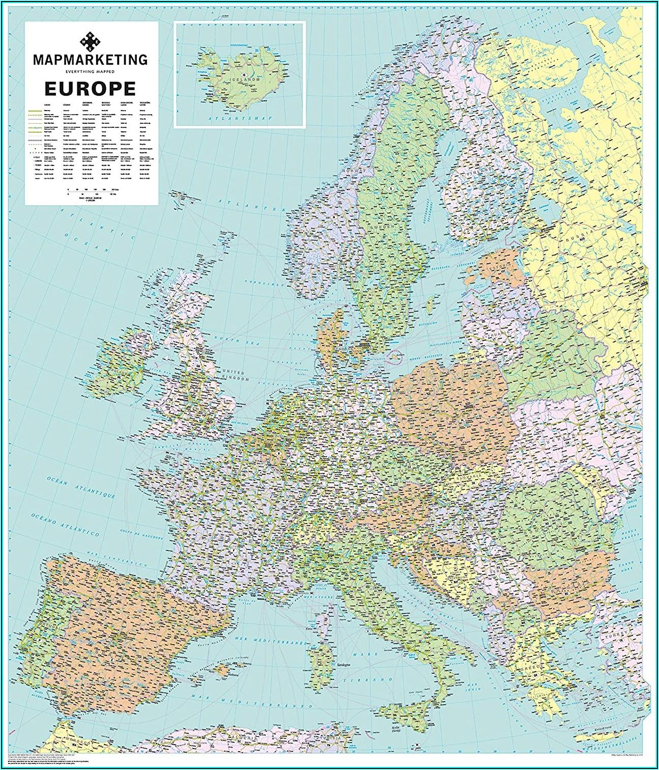 Laminated Wall Map Of Europe