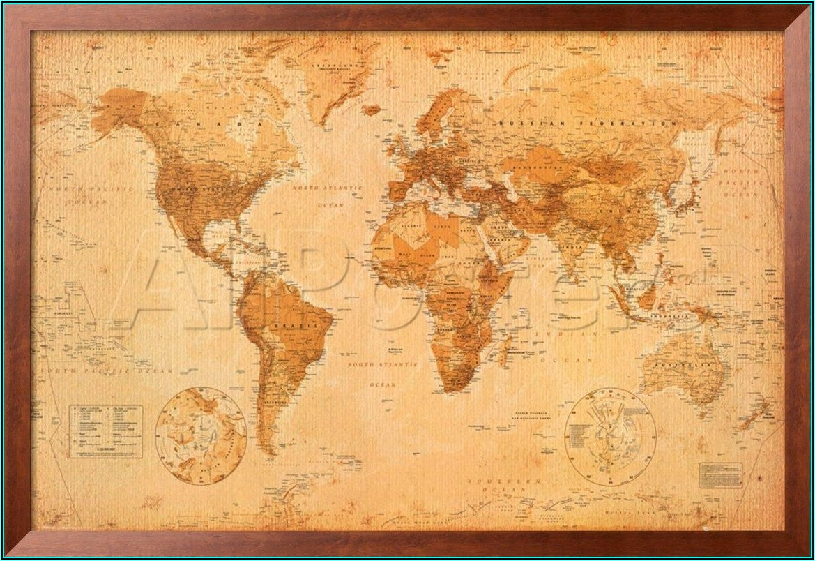 Large Antique World Map Framed