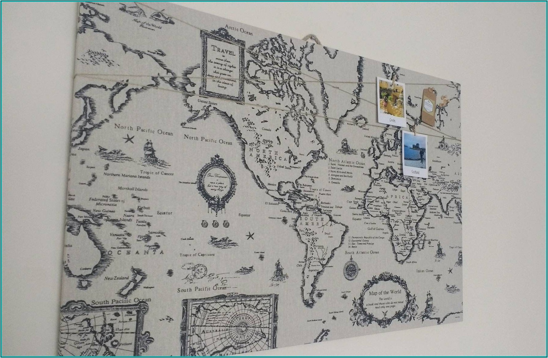 Large Cork Board World Map
