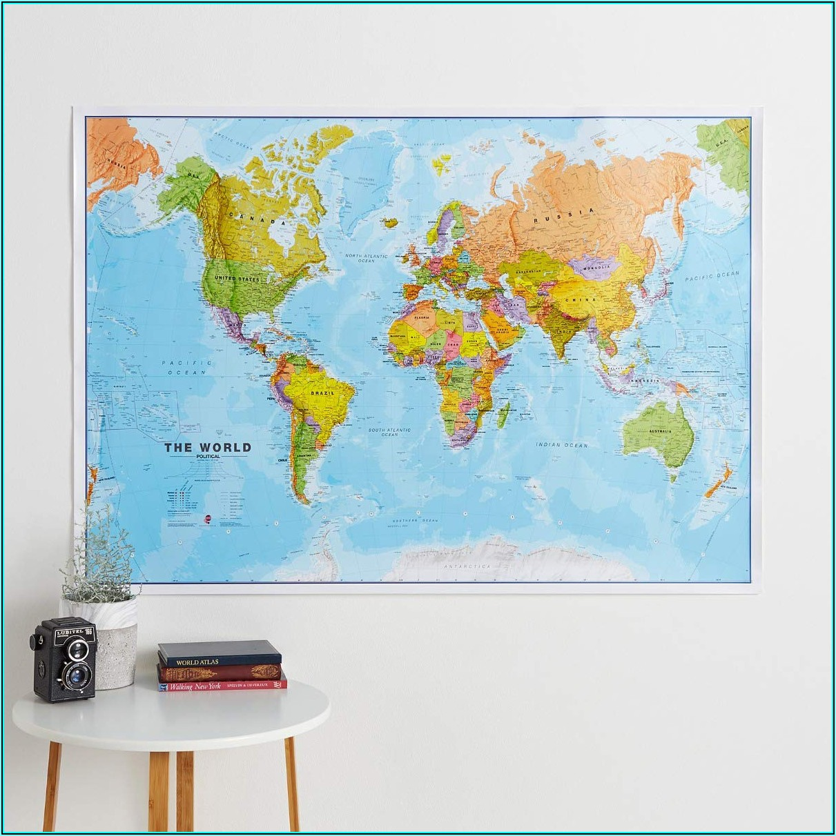 Large Framed World Map Pinboard