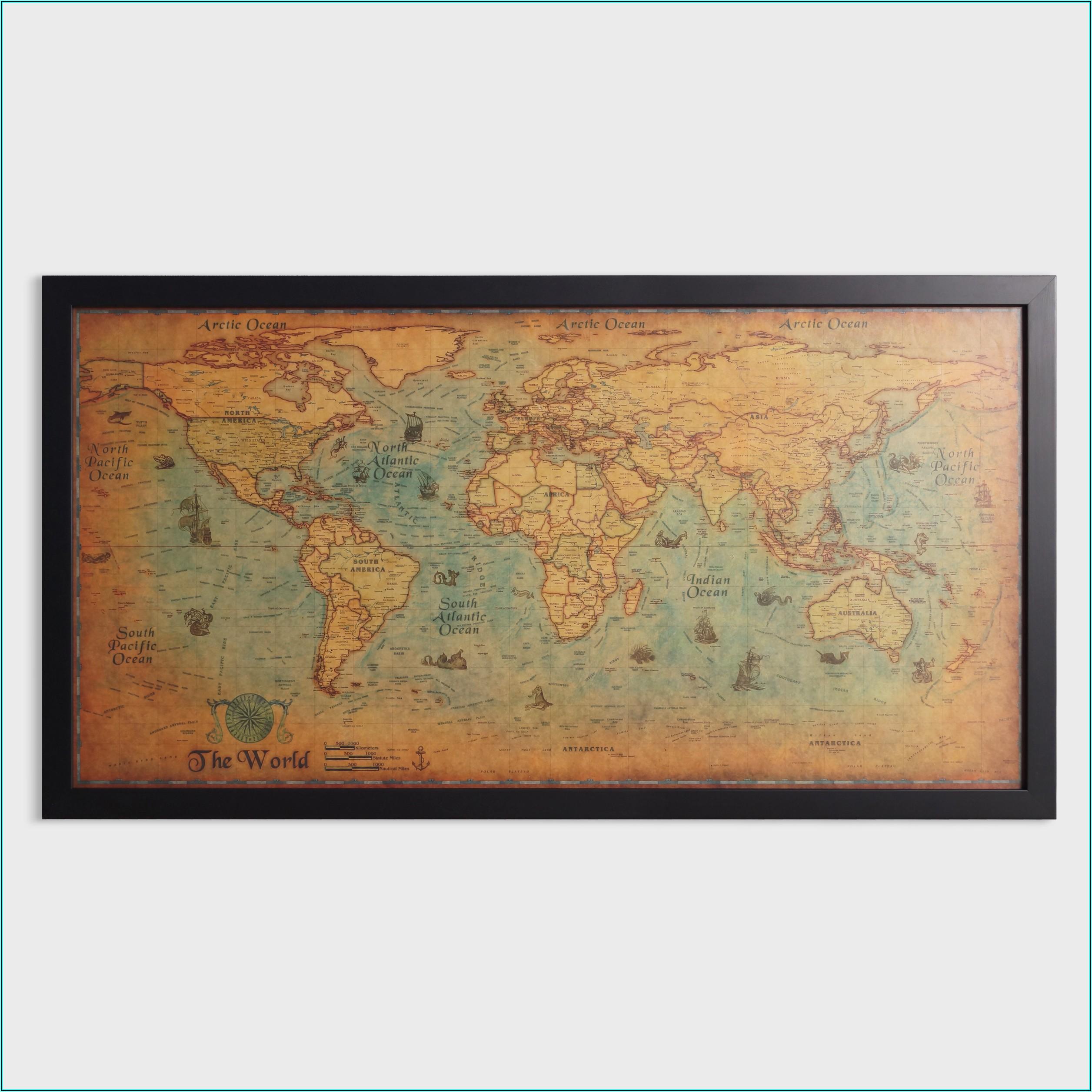 Large Framed World Maps For Sale