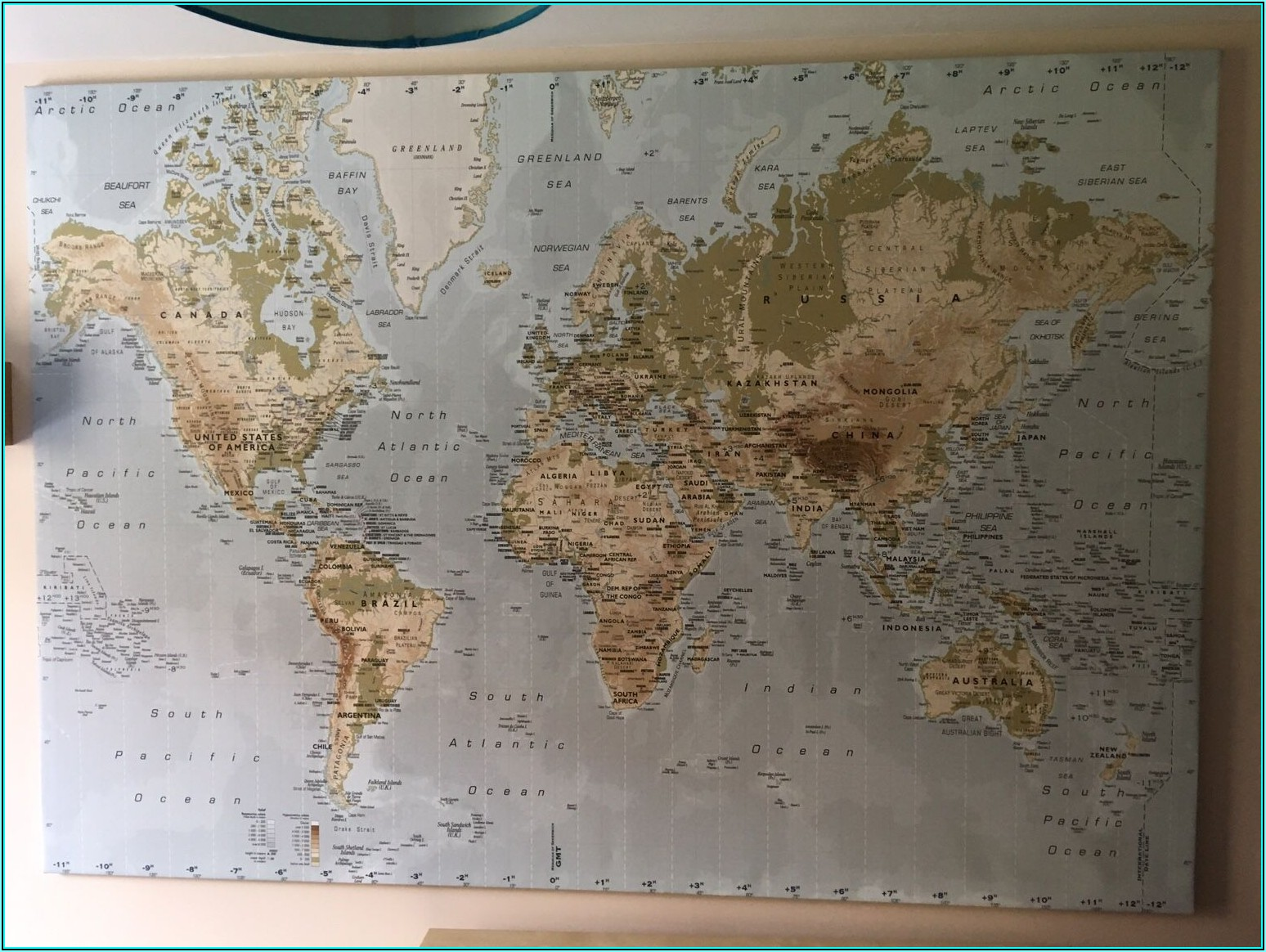 Large Laminated Map Of The World