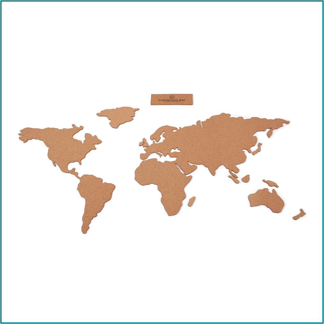 Large World Map Cork Board Uk