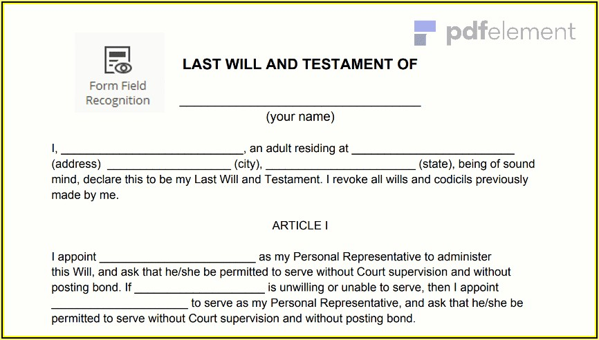 Last Will And Testament Template Free Download Australia