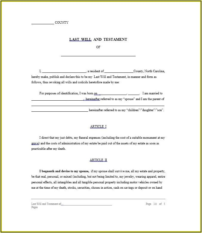 Last Will And Testament Template Free Download Nz