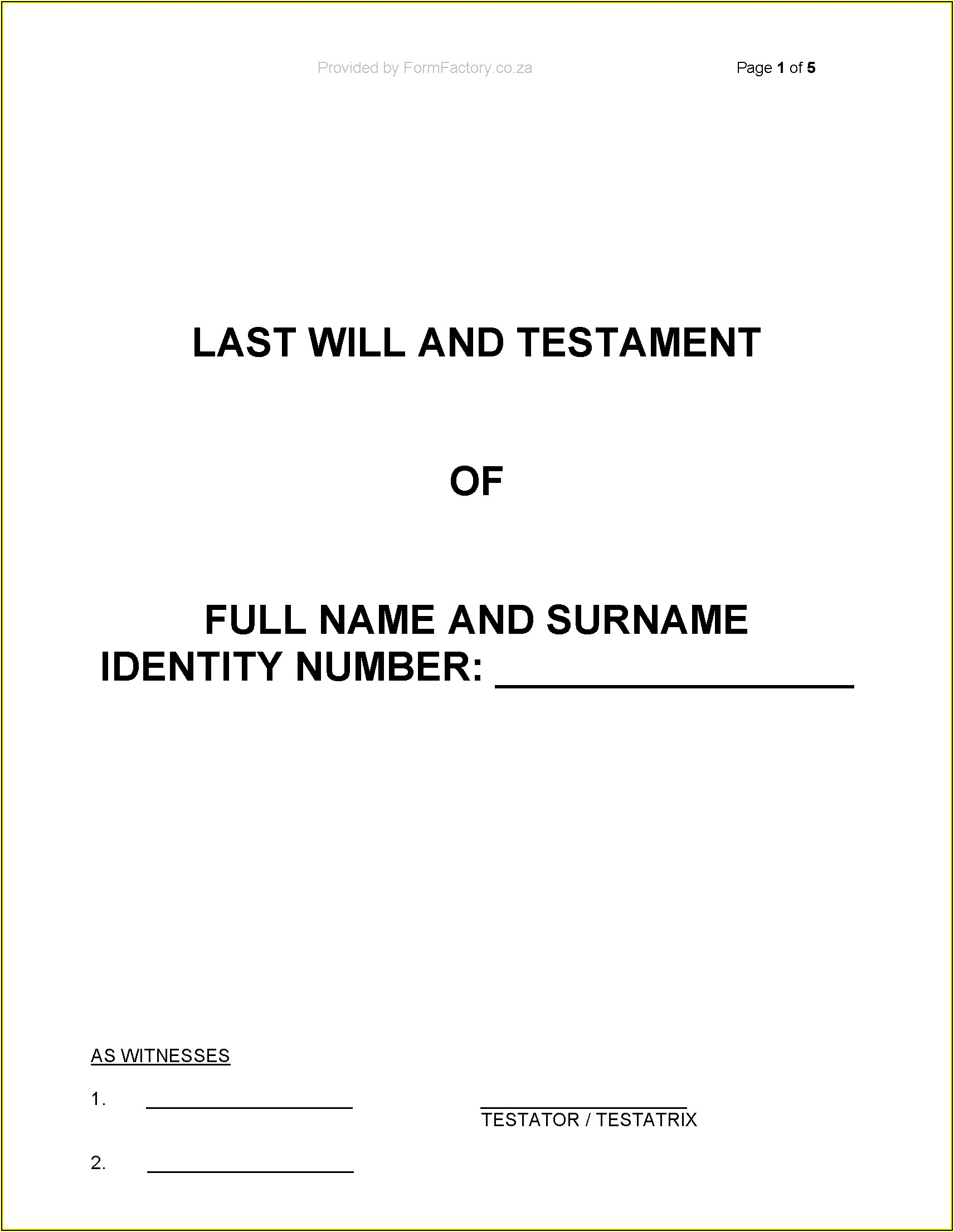 Last Will And Testament Template Free South Africa