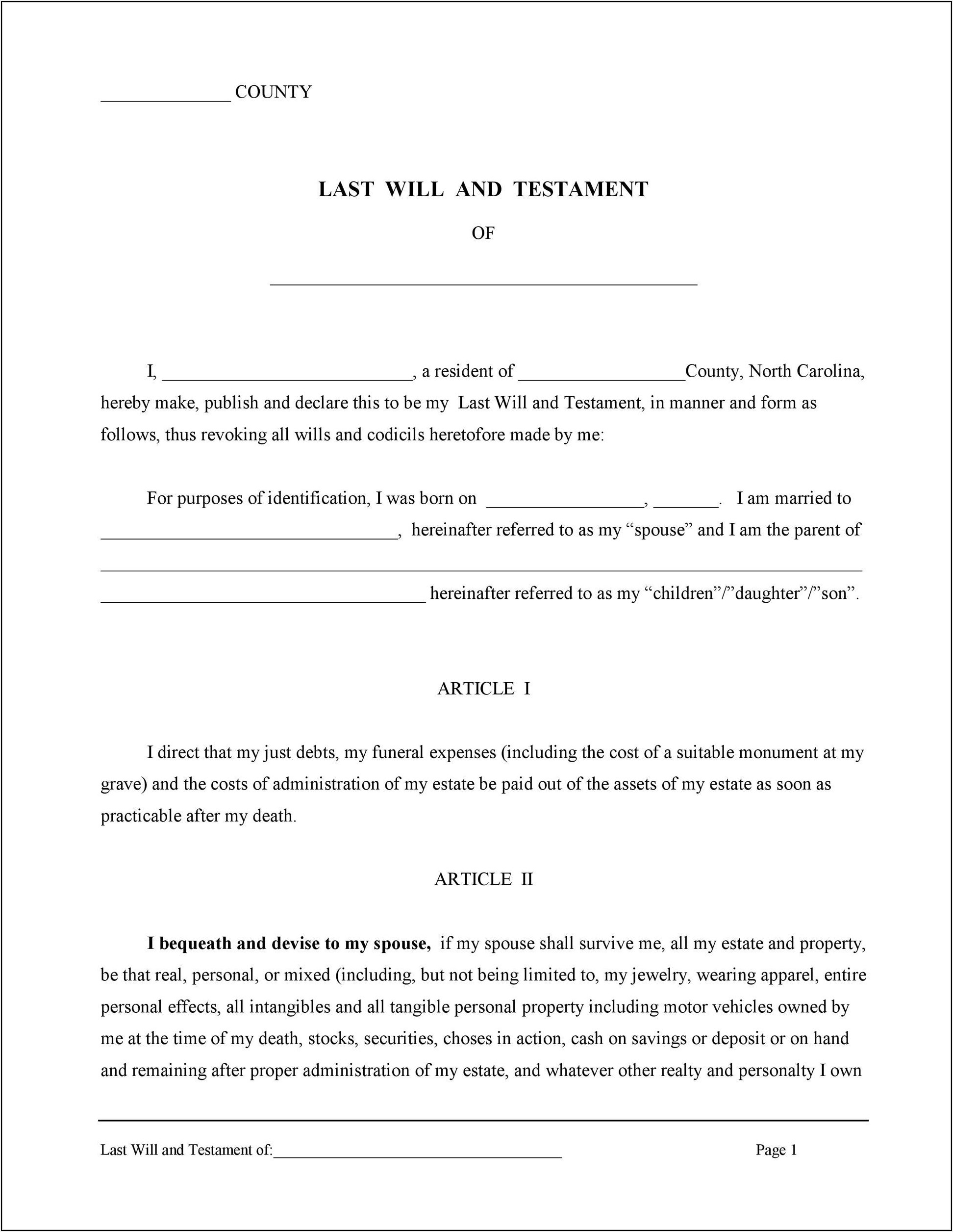 Last Will And Testament Template Free