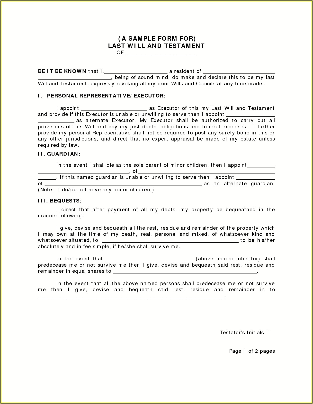 Last Wills And Testaments Free Templates
