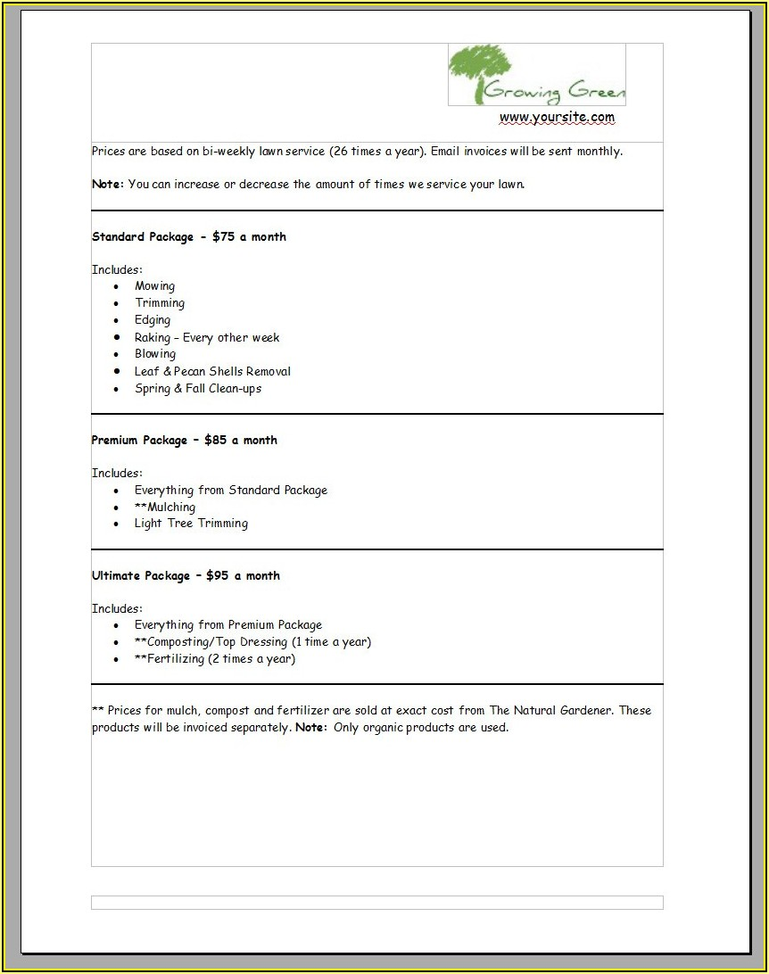 Lawn Care Bid Template Free