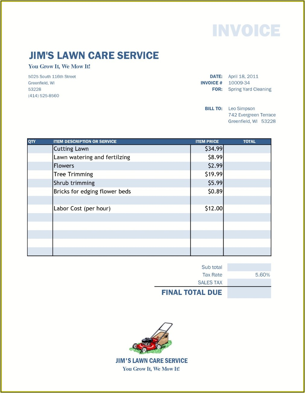 Lawn Service Proposal Template Free