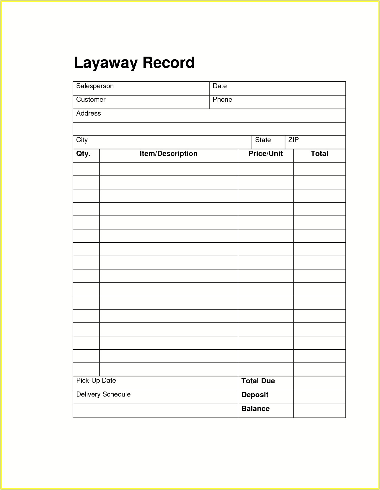 Layaway Agreement Forms