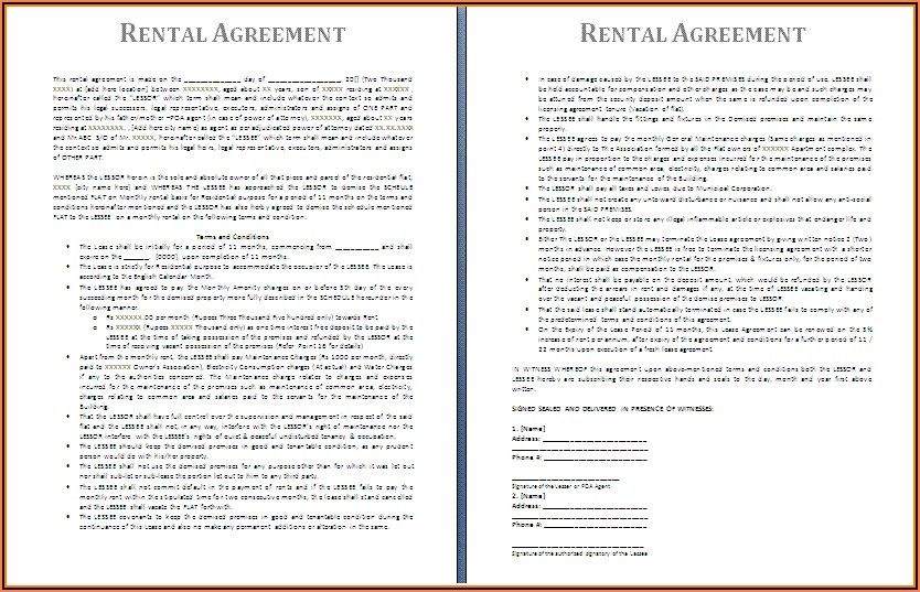 Lease Agreement Form Free Download