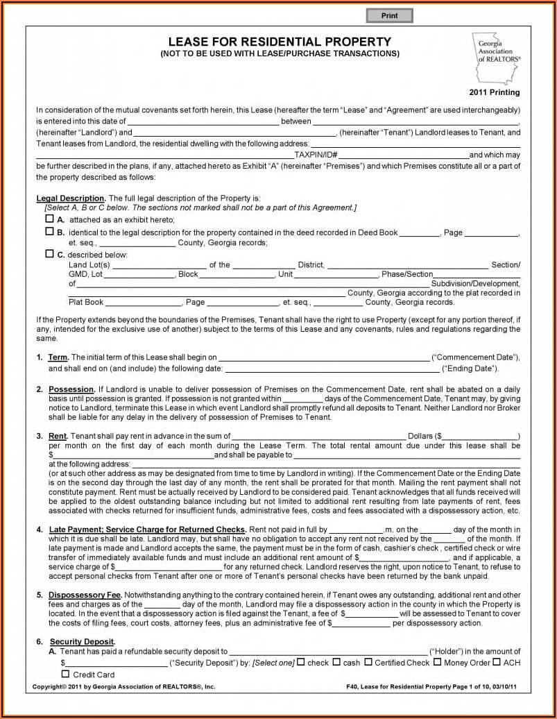 Lease Agreement Form Free Pdf