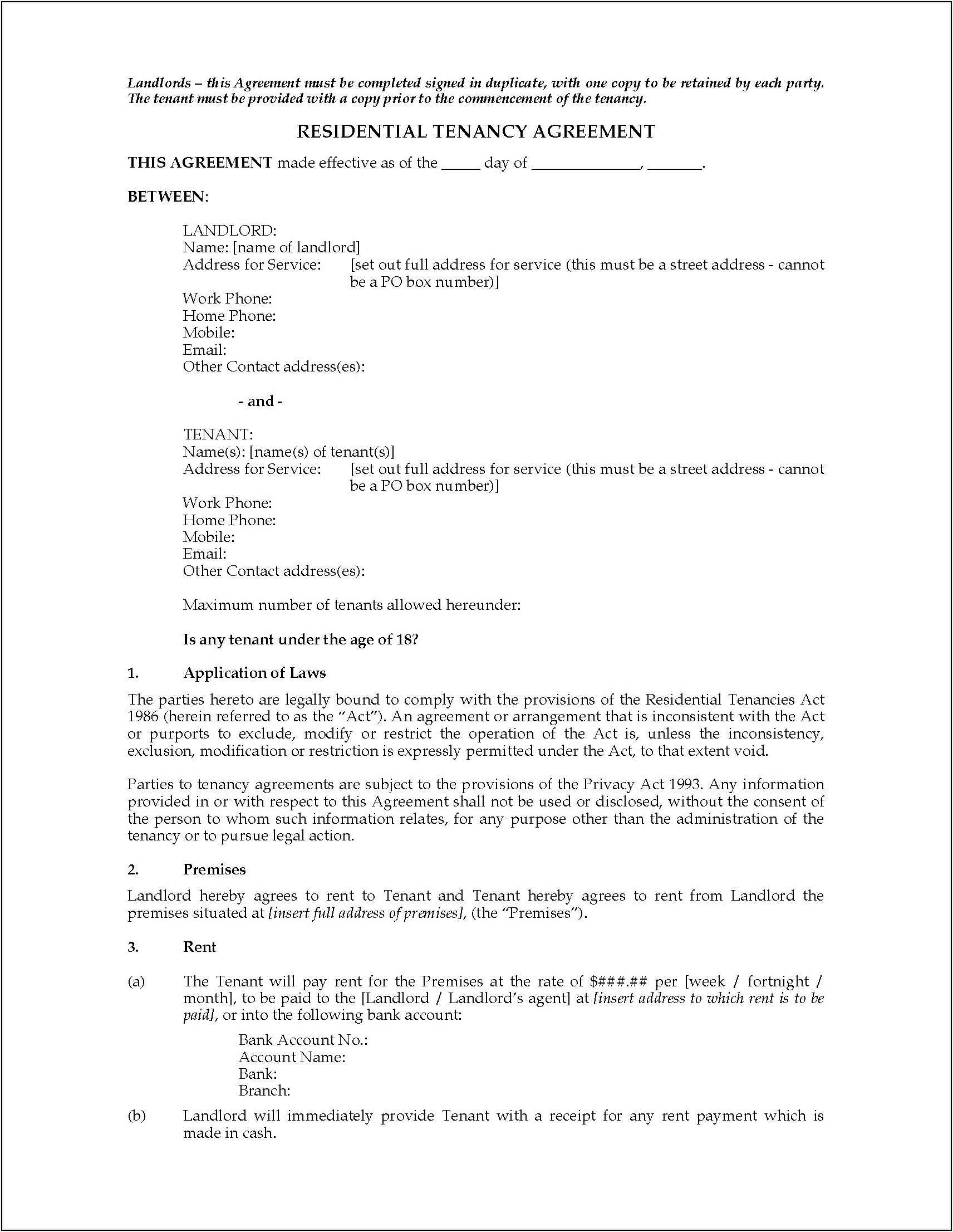Lease Agreement Template Nz