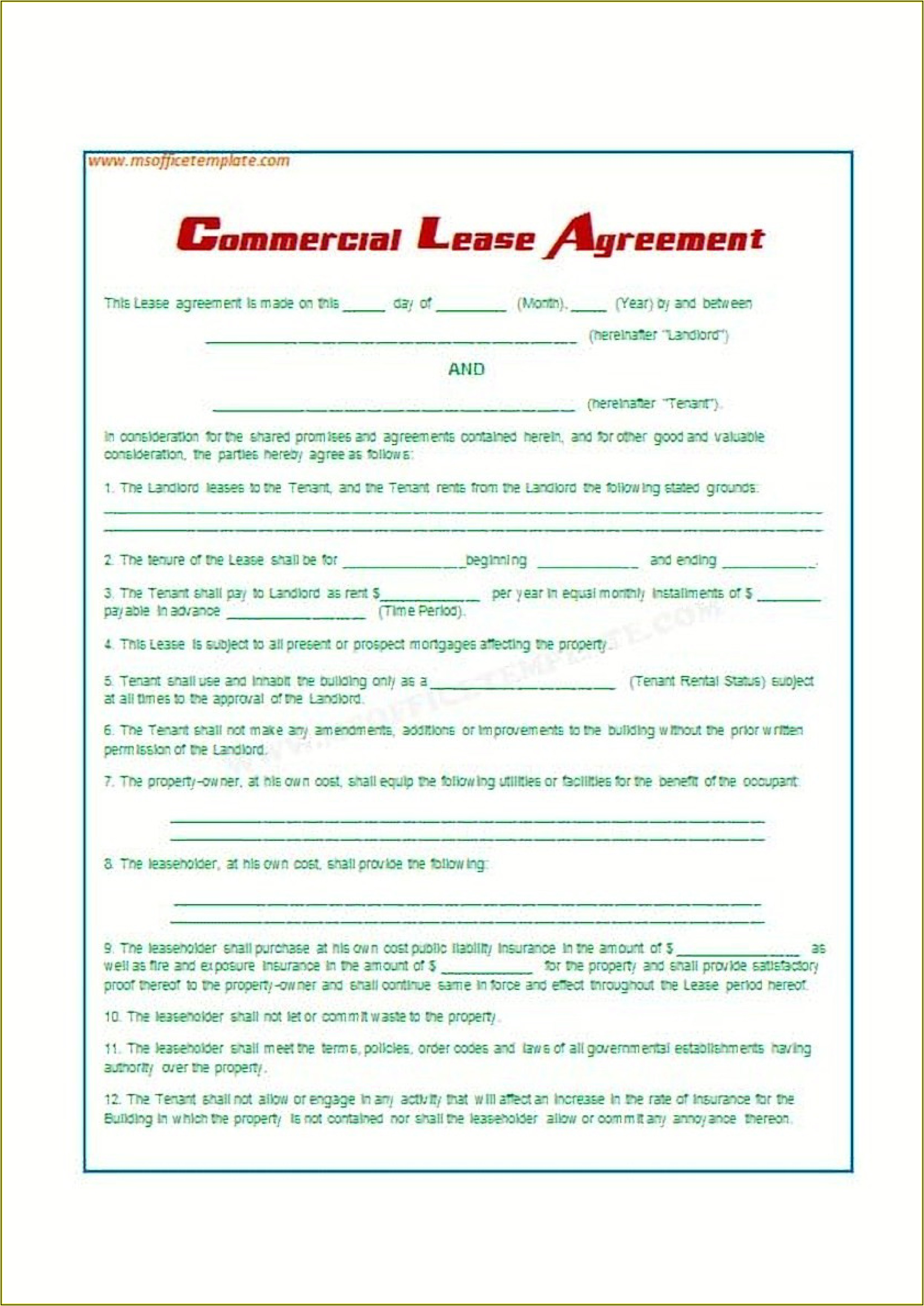 Lease Agreements Templates