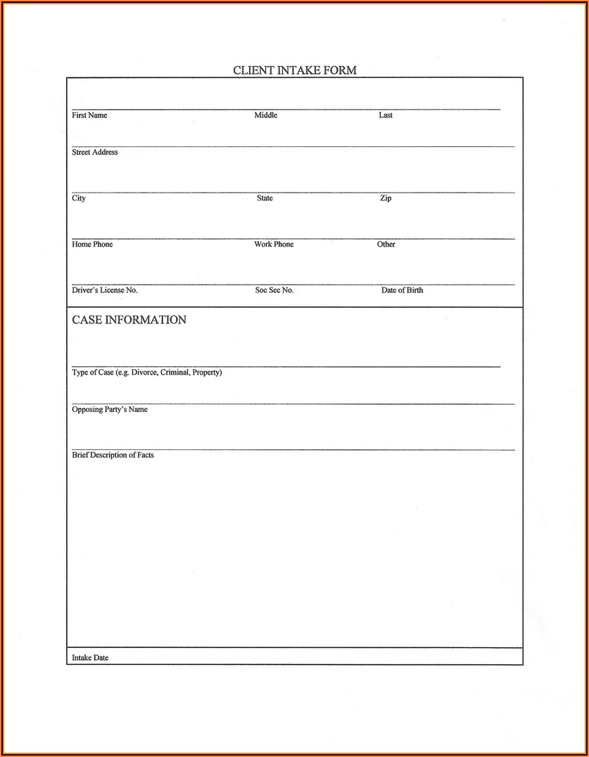 Legal Client Intake Form Template Word