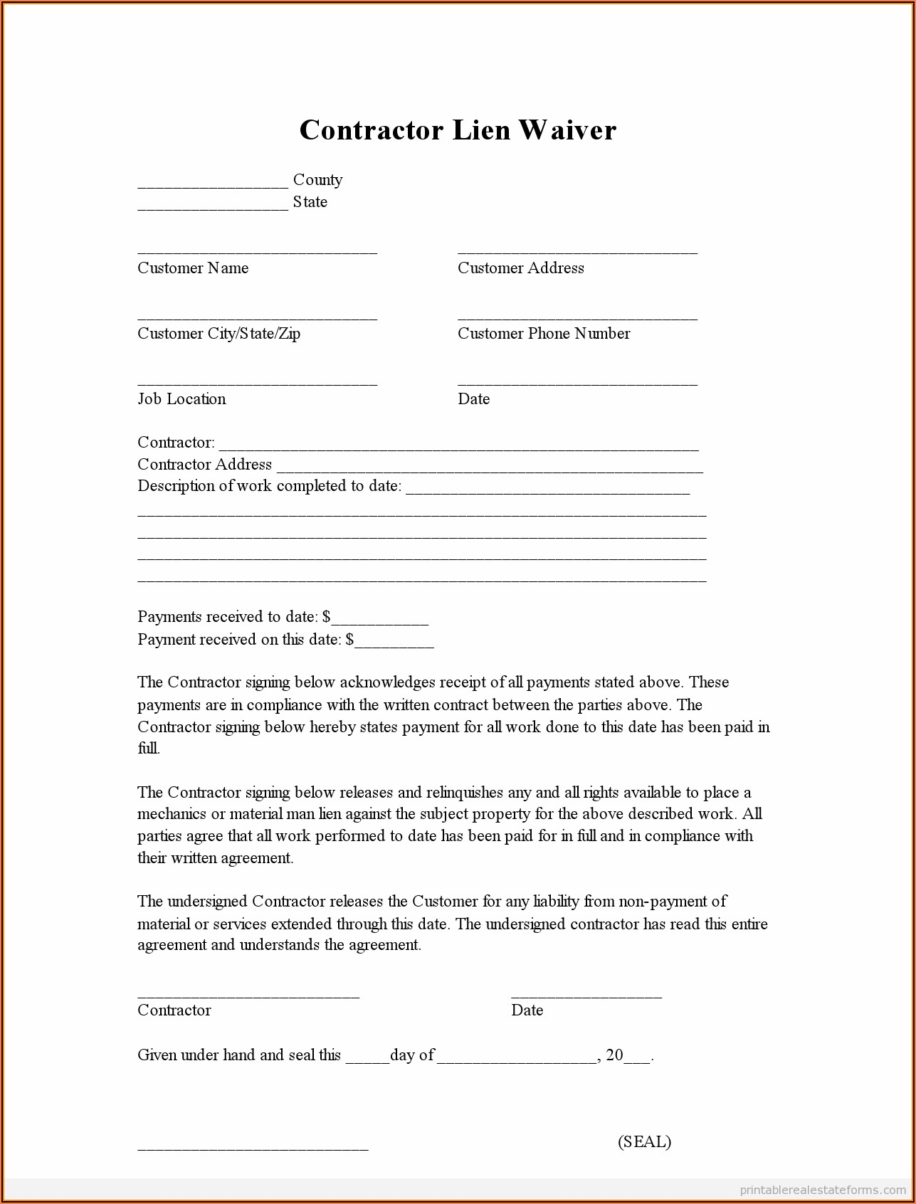 Lien Waiver Forms Free