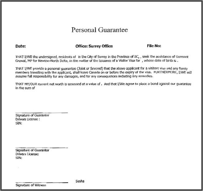 Loan Personal Guarantee Template