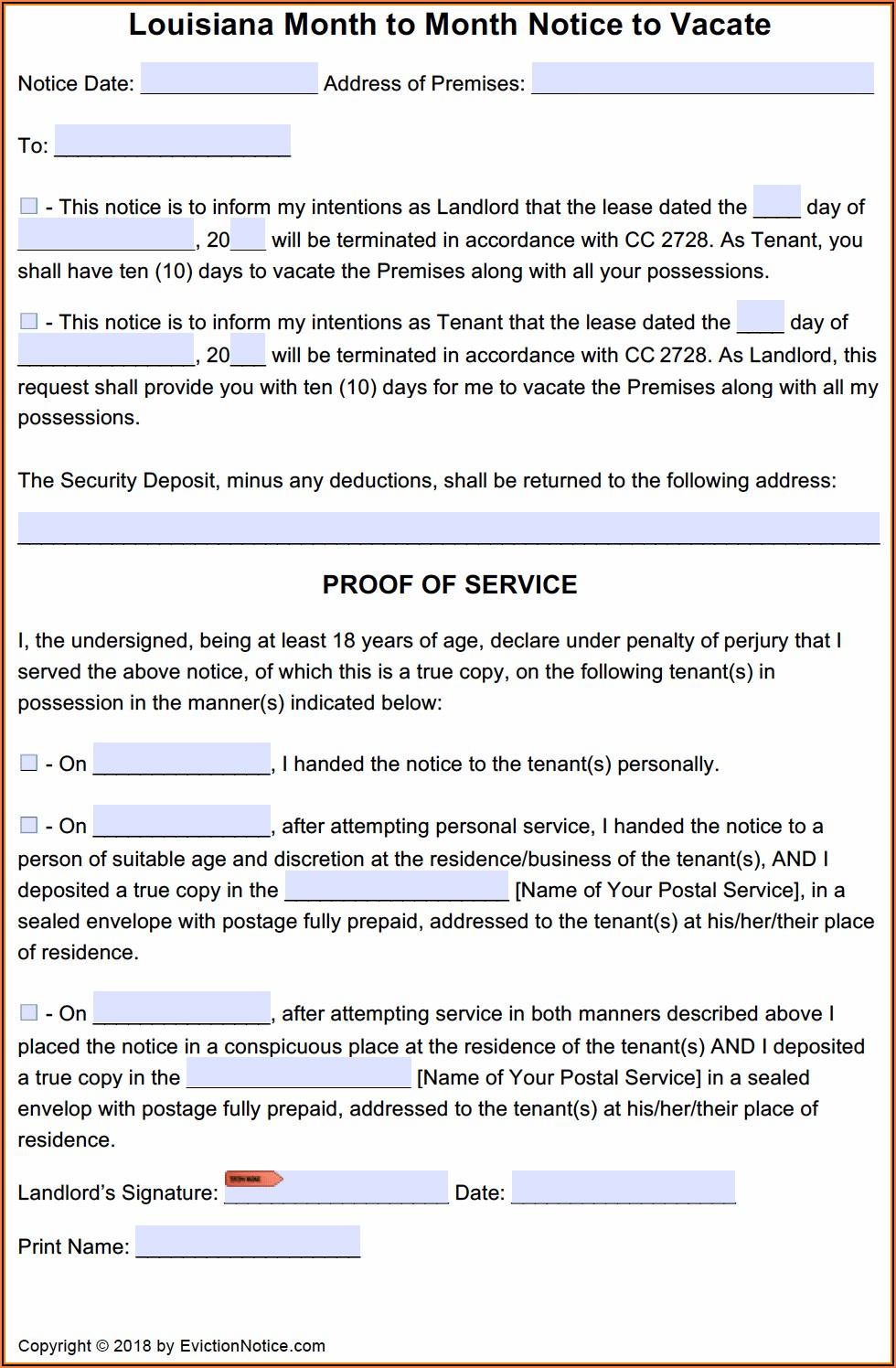 Louisiana 10 Day Notice To Vacate Form