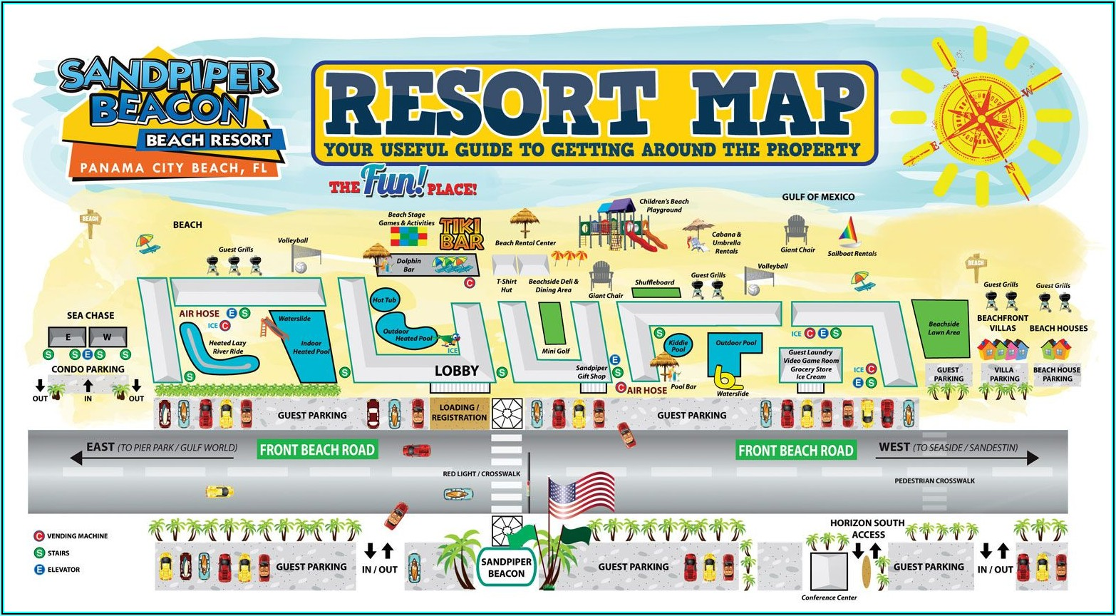 Map Of Beachfront Hotels In Panama City Beach Florida