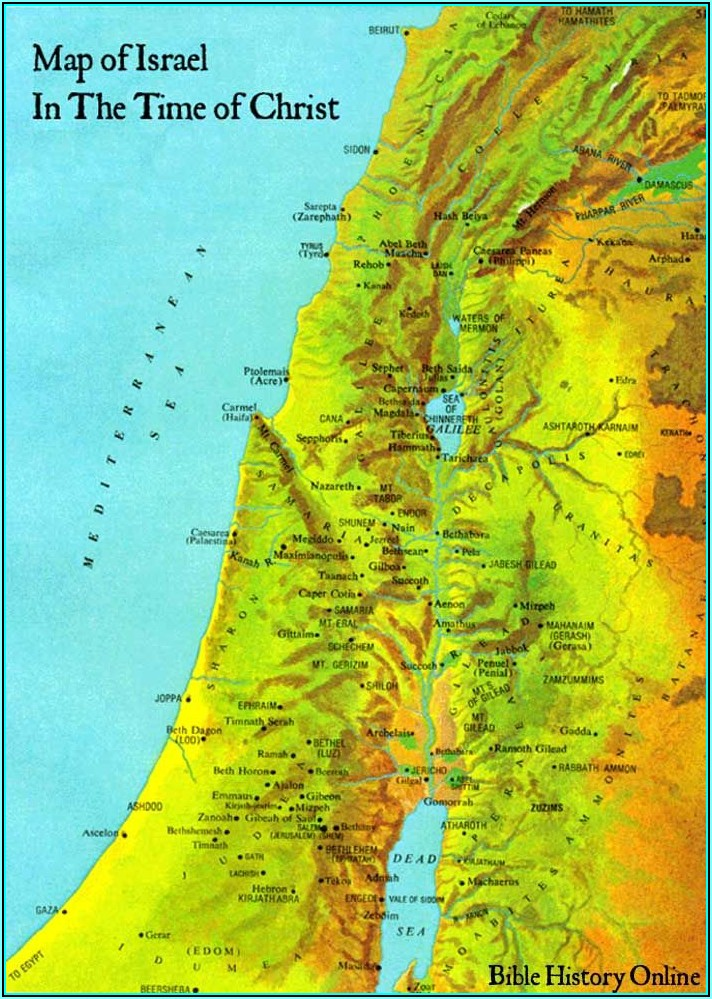 Map Of Holy Lands In Jesus Time