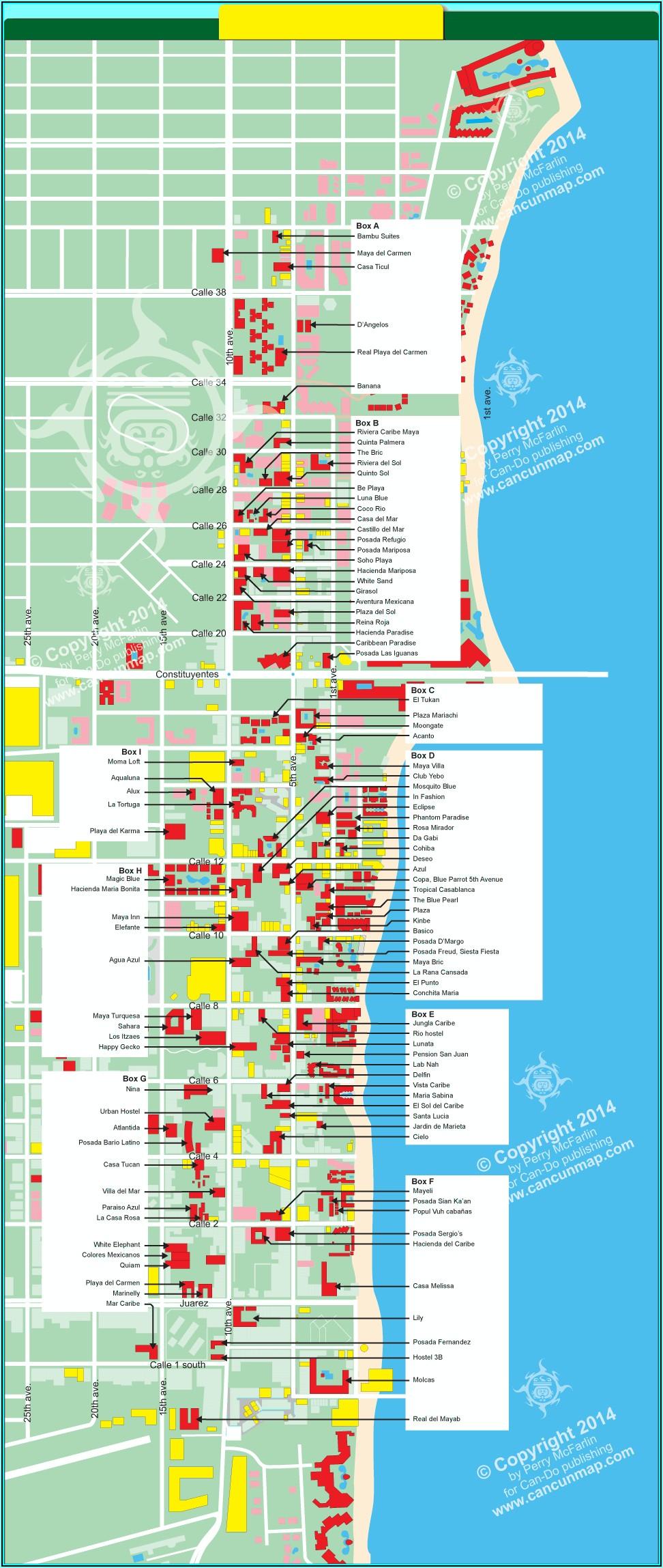 Map Of Hotels Close To Playa Del Carmen
