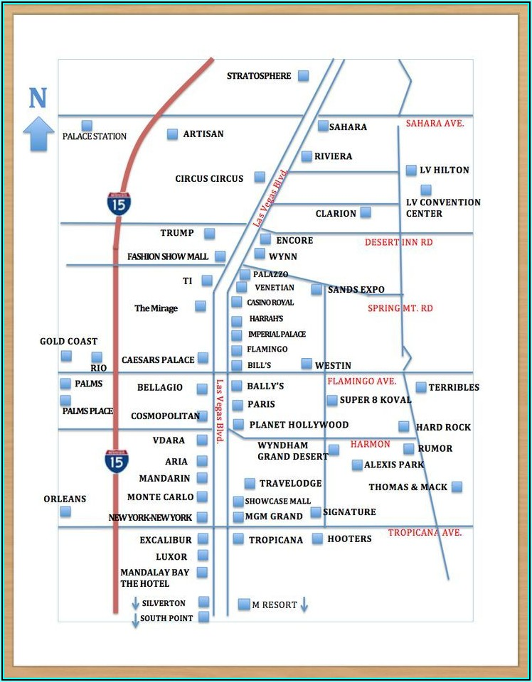 Map Of Hotels In Vegas Strip