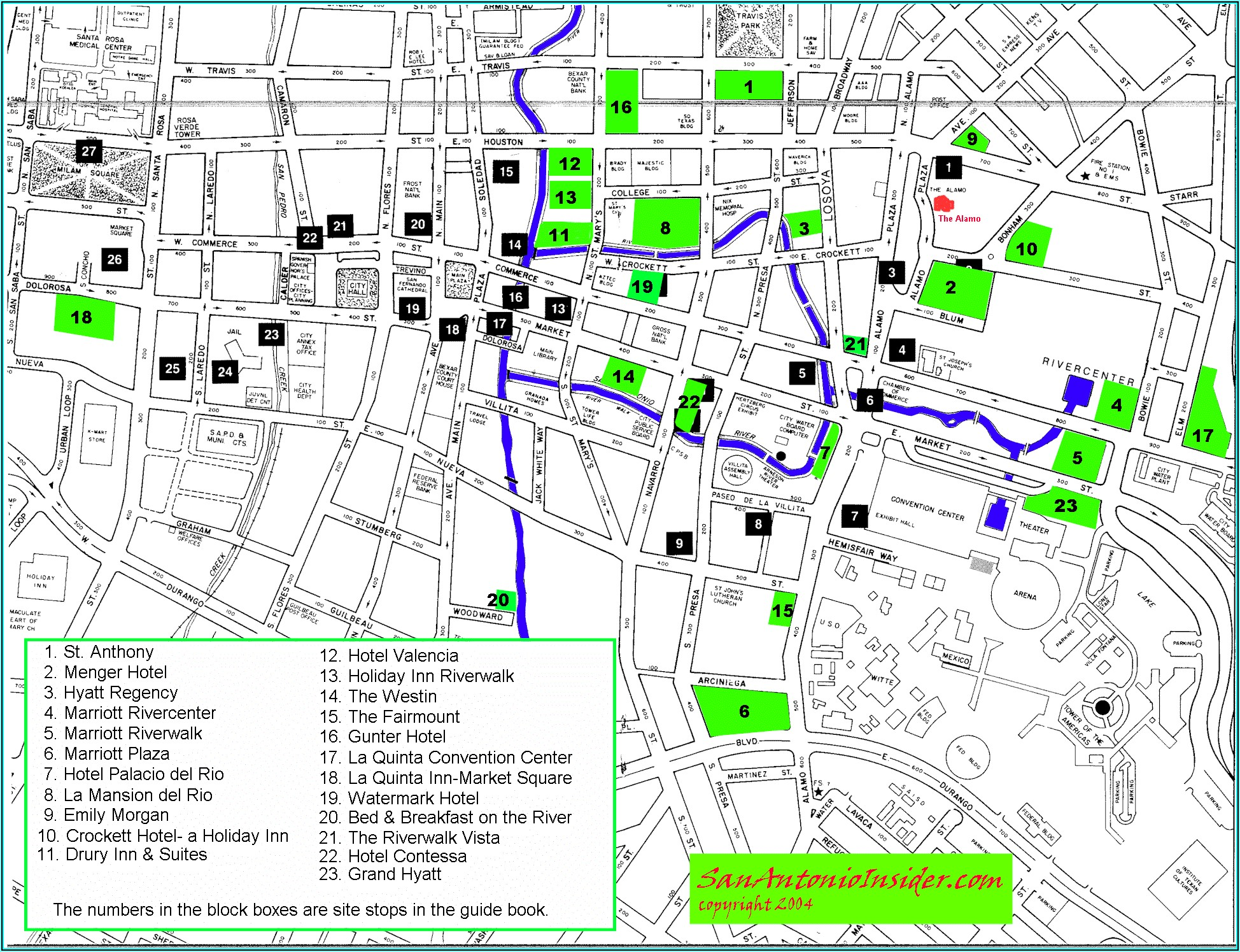 Map Of Hotels Near San Antonio Riverwalk