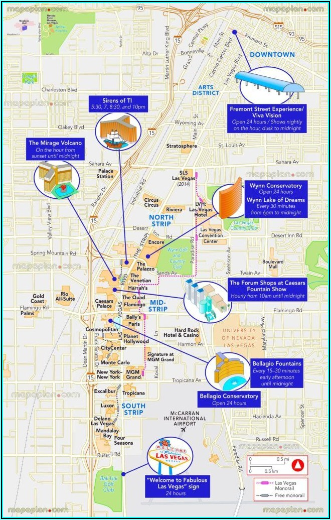 Map Of Hotels On Las Vegas Strip 2019