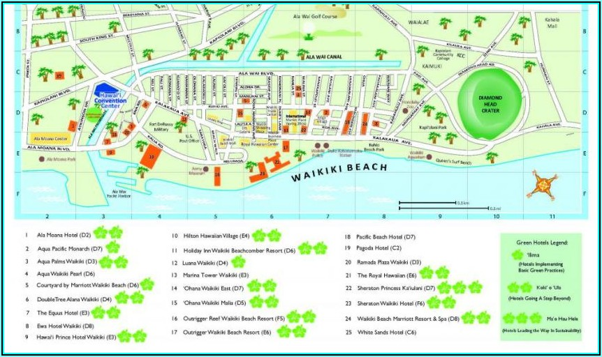 Map Of Hotels On Waikiki Beach Oahu