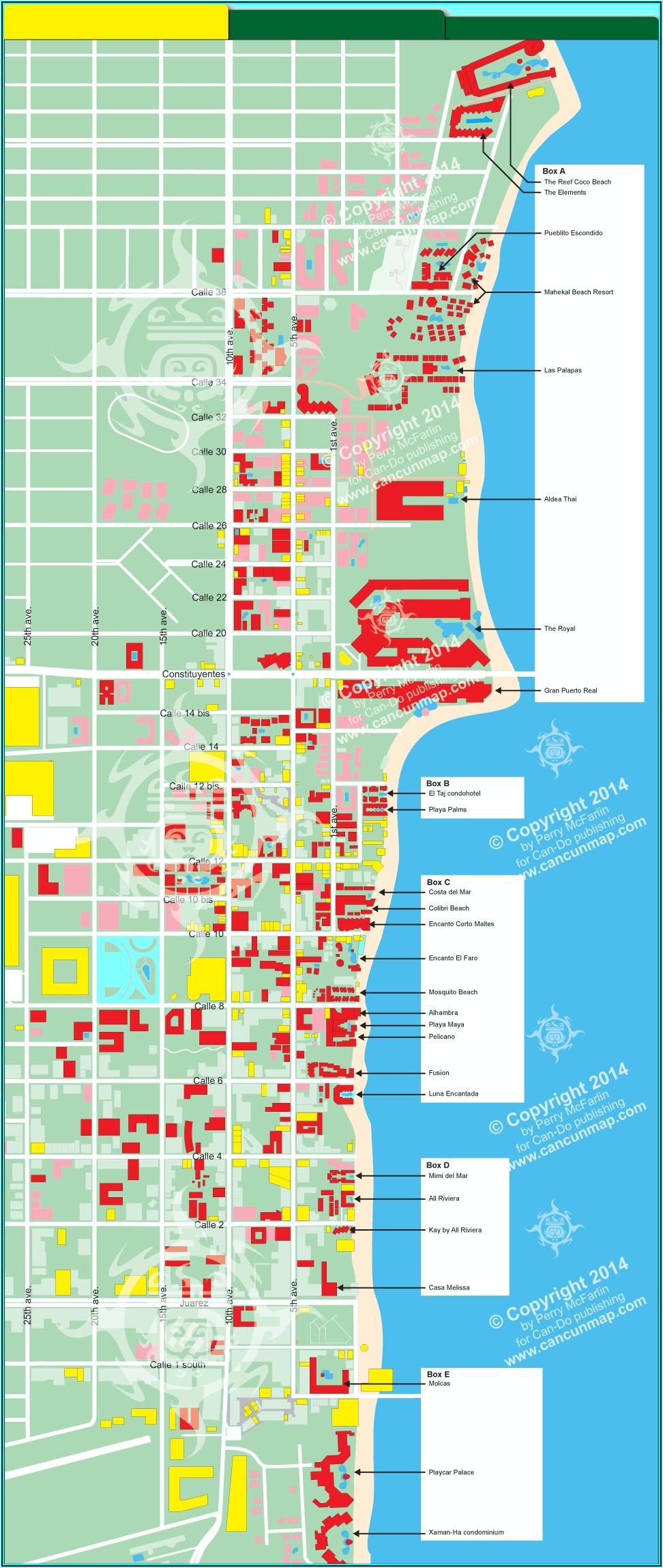 Map Of Hotels Playa Del Carmen Mexico