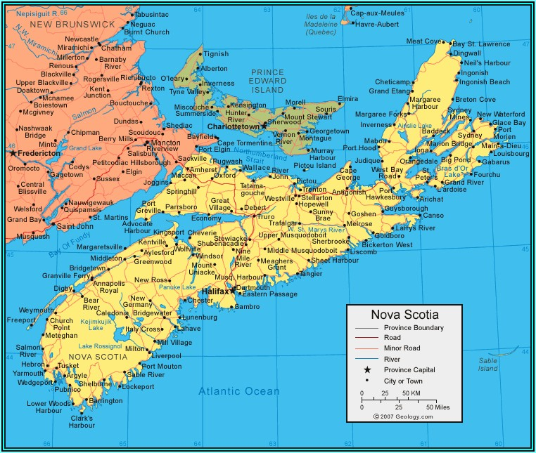 Map Of Maine Nova Scotia And New Brunswick