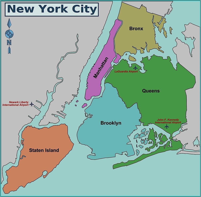 Map Of New York 5 Boroughs