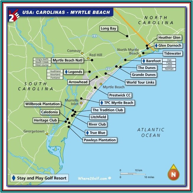 Map Of Resorts On Myrtle Beach Boardwalk