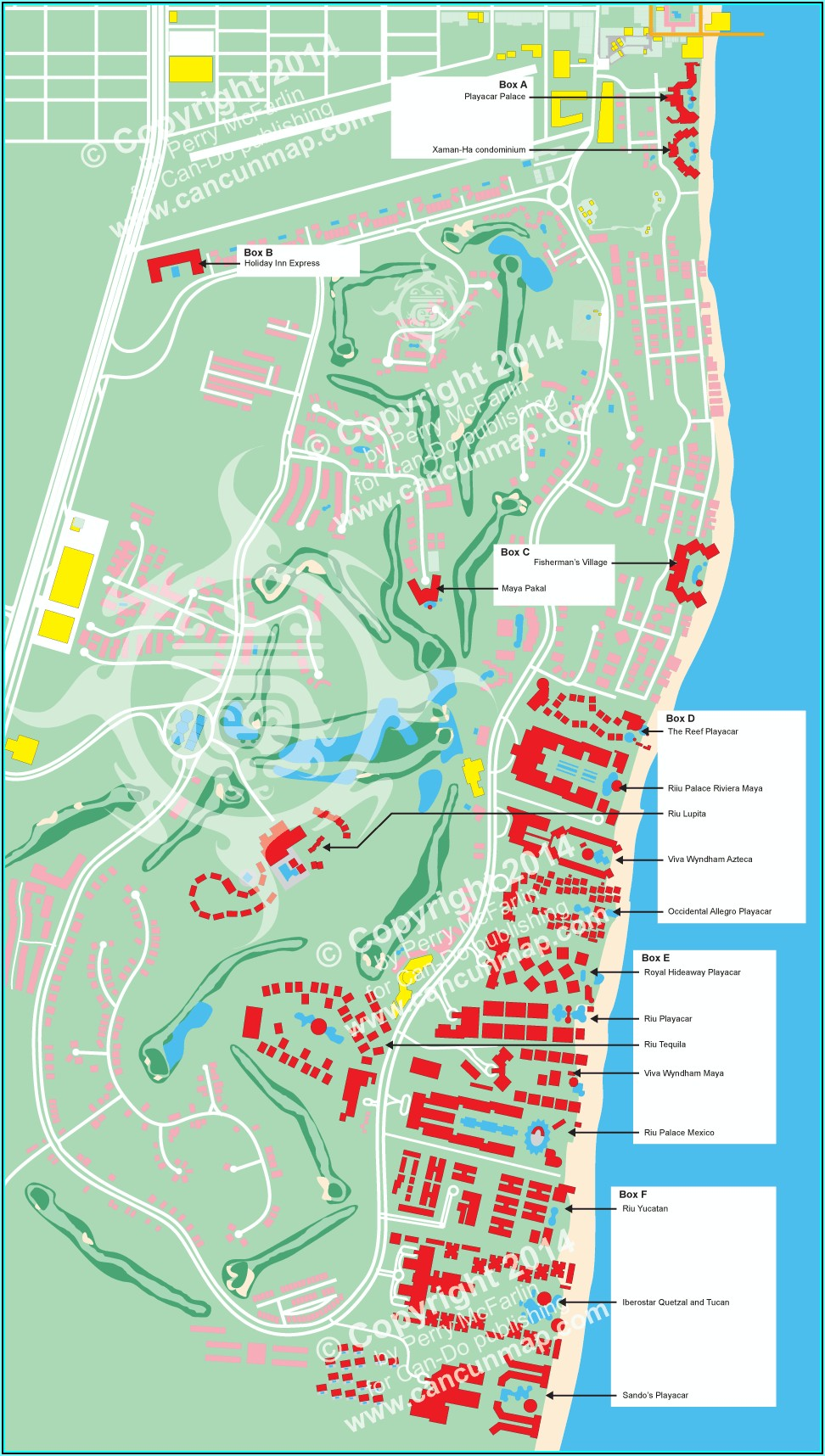 Map Of Riu Hotels Playa Del Carmen