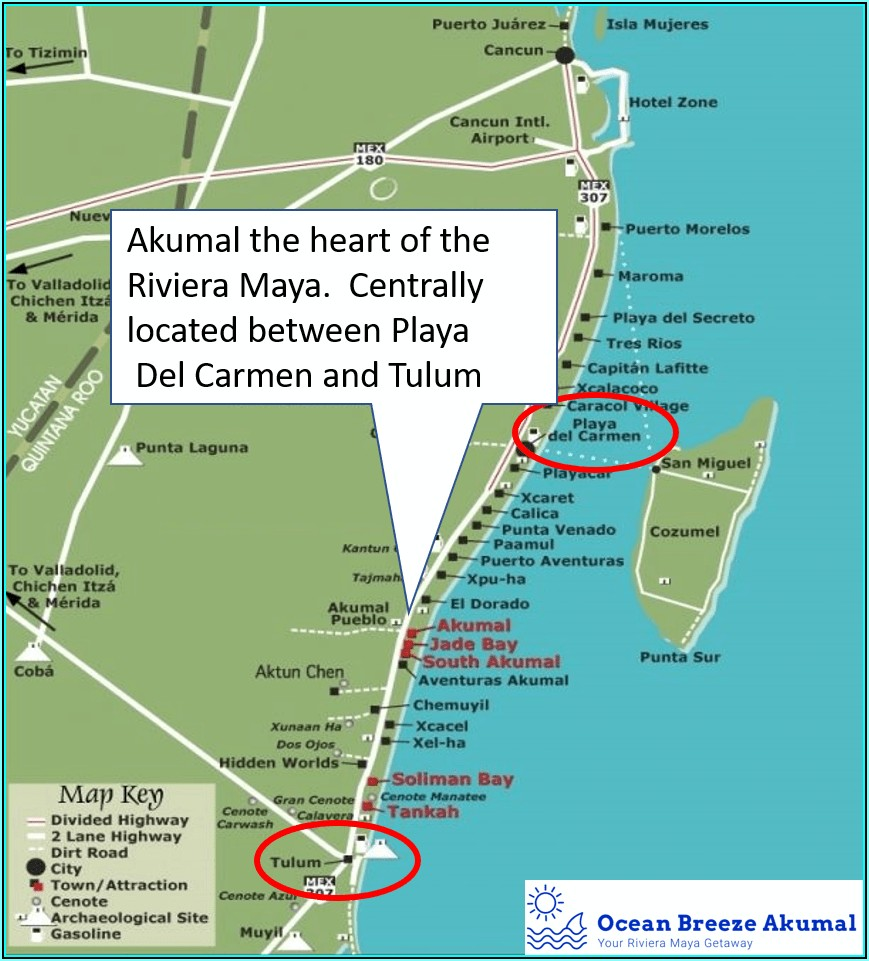 Map Of Riviera Maya Playa Del Carmen