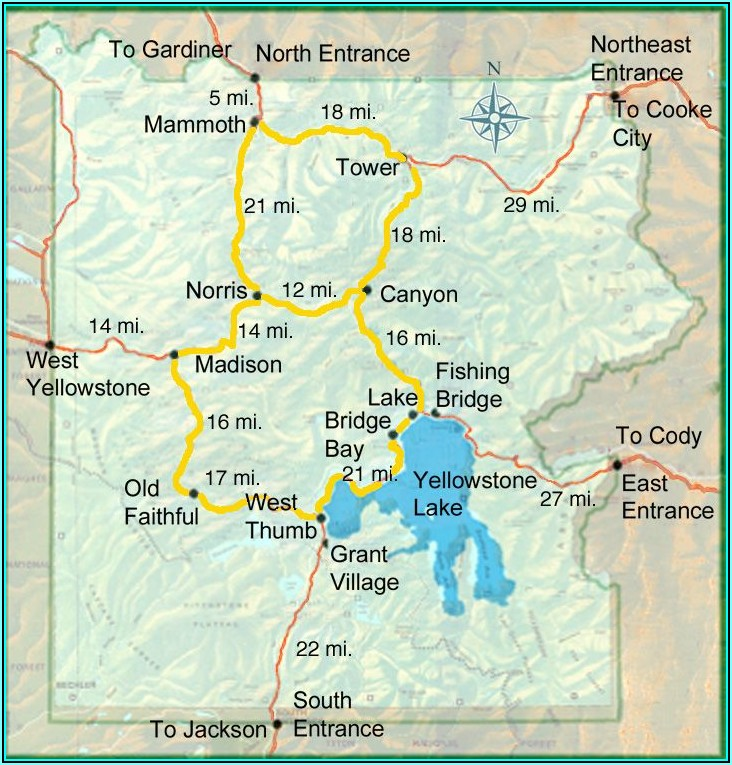 Map Of Yellowstone Lodging In The Park