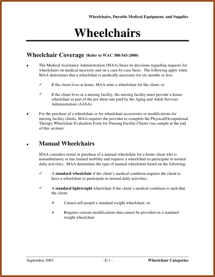 Medicare Manual Wheelchair Evaluation Form