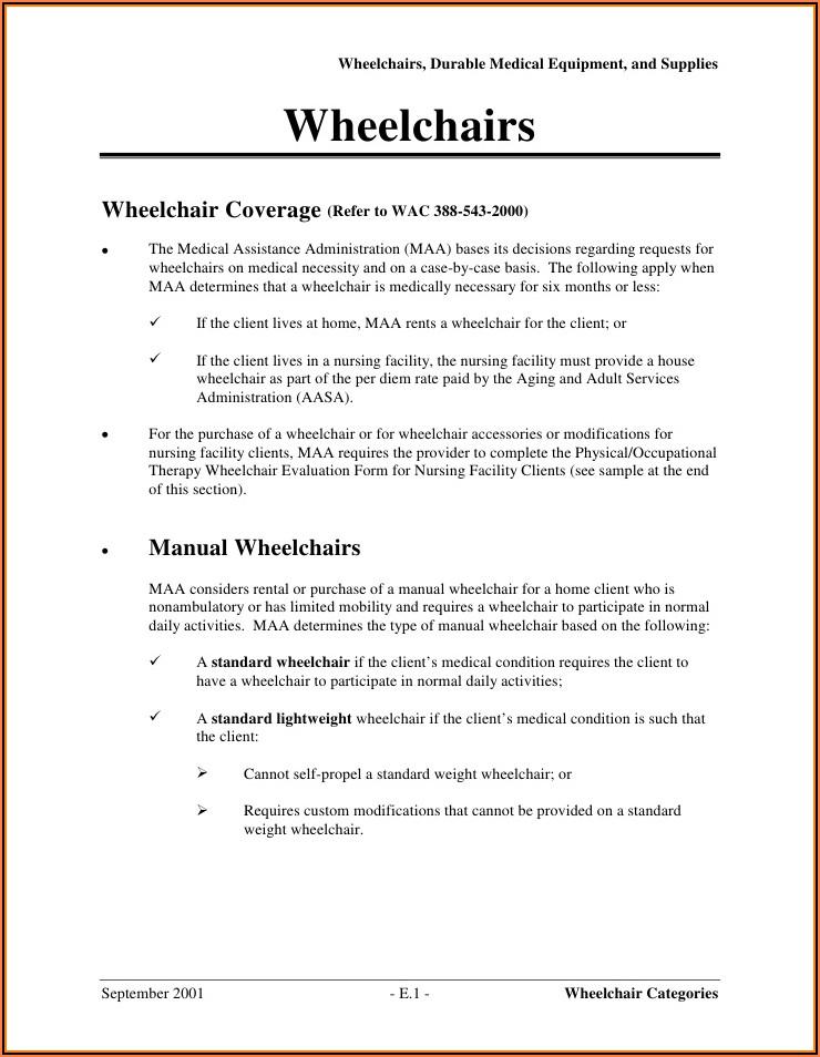 Medicare Manual Wheelchair Evaluation Form