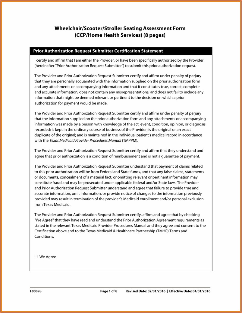 Medicare Wheelchair Home Assessment Form