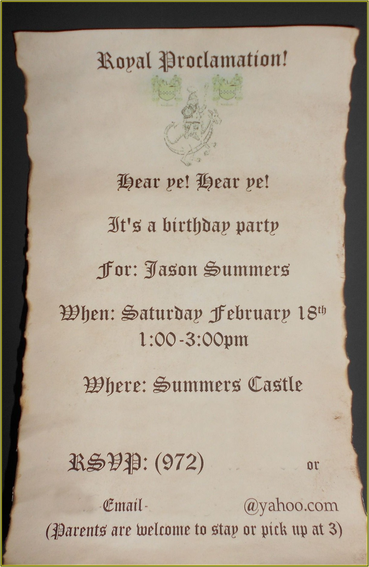 Medieval Banquet Invitation Template