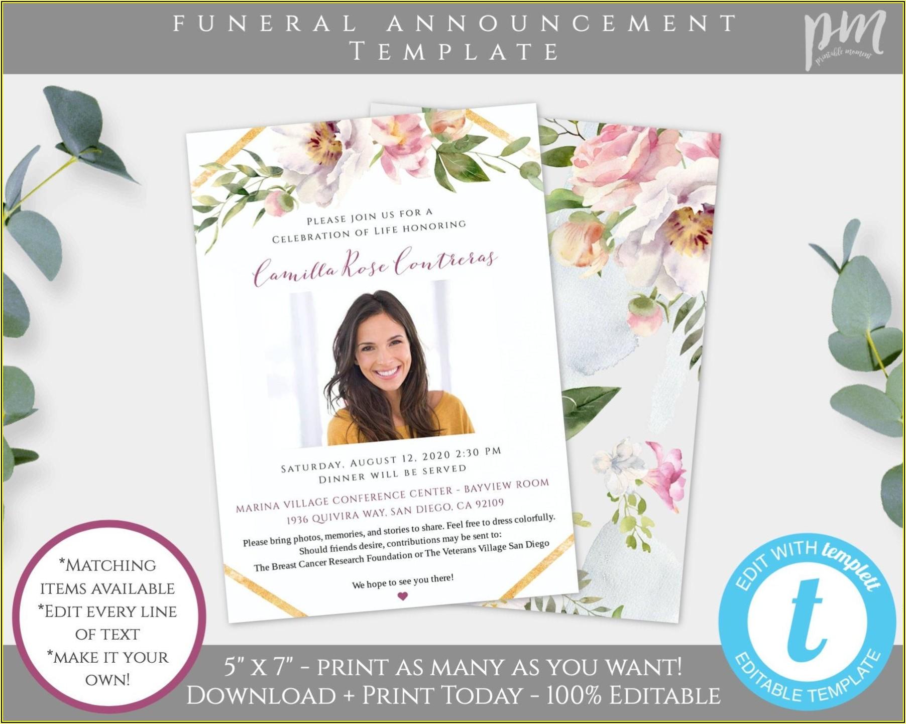 Memorial Service Announcement Template
