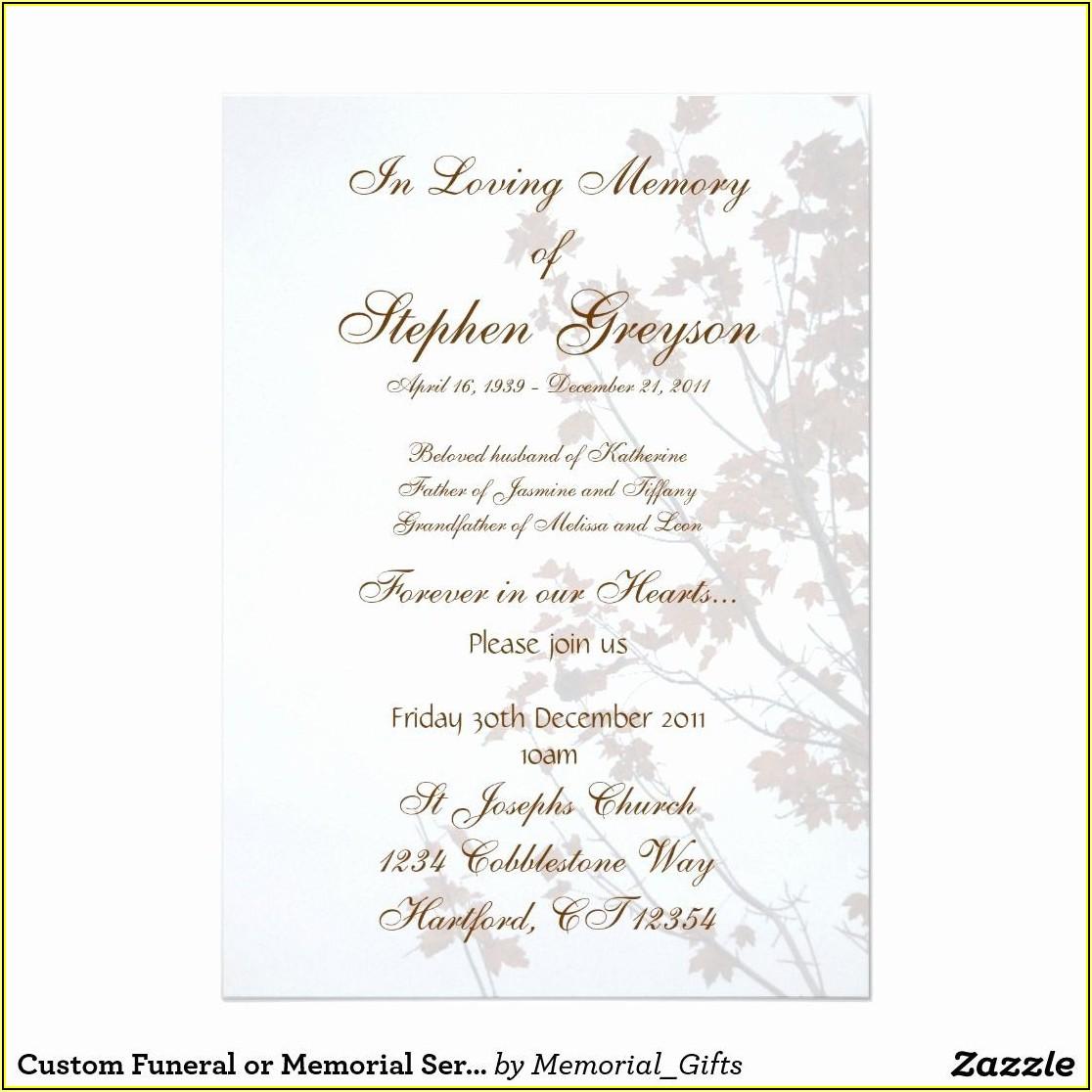 Memorial Service Invitation Template Free