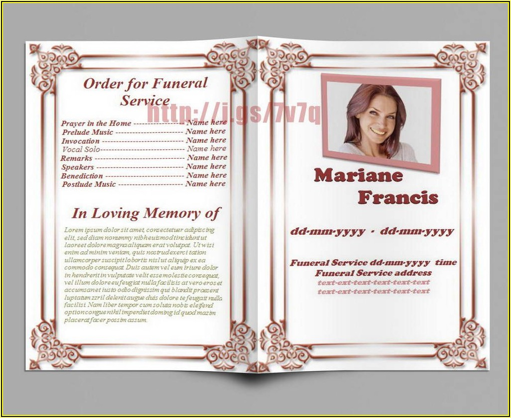 Memorial Service Template Free