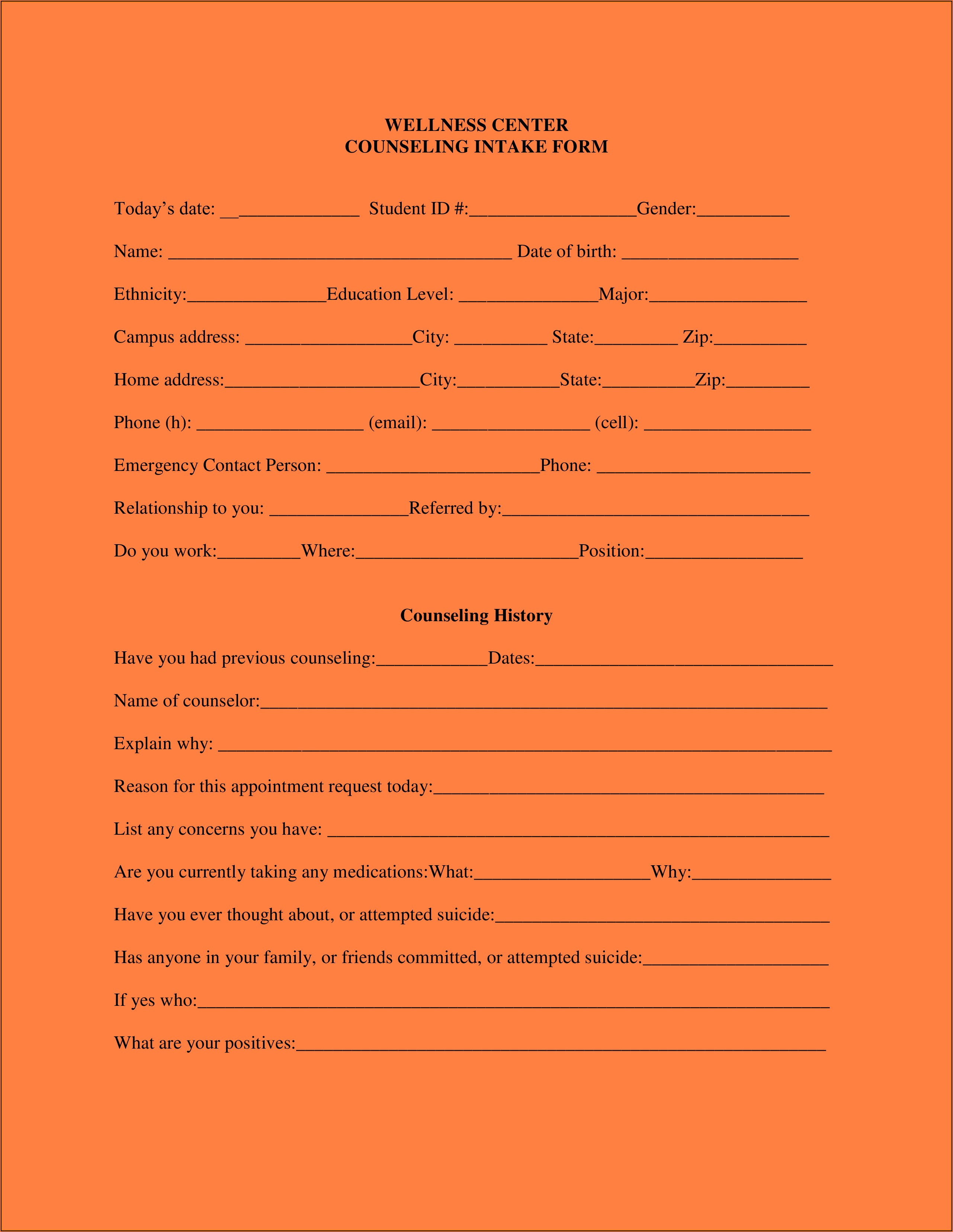 Mental Health Counselor Intake Forms
