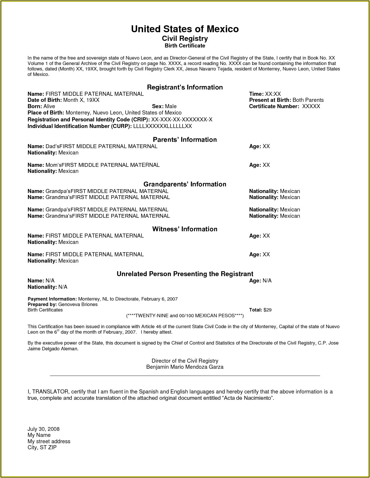 Mexican Marriage Certificate Translation Template
