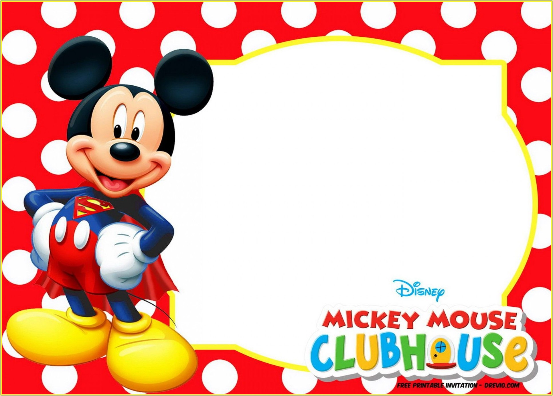 Mickey Mouse Birthday Invitation Editable