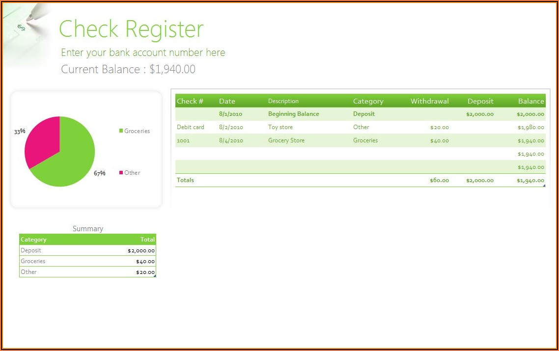 Microsoft Excel Checkbook Register Formula