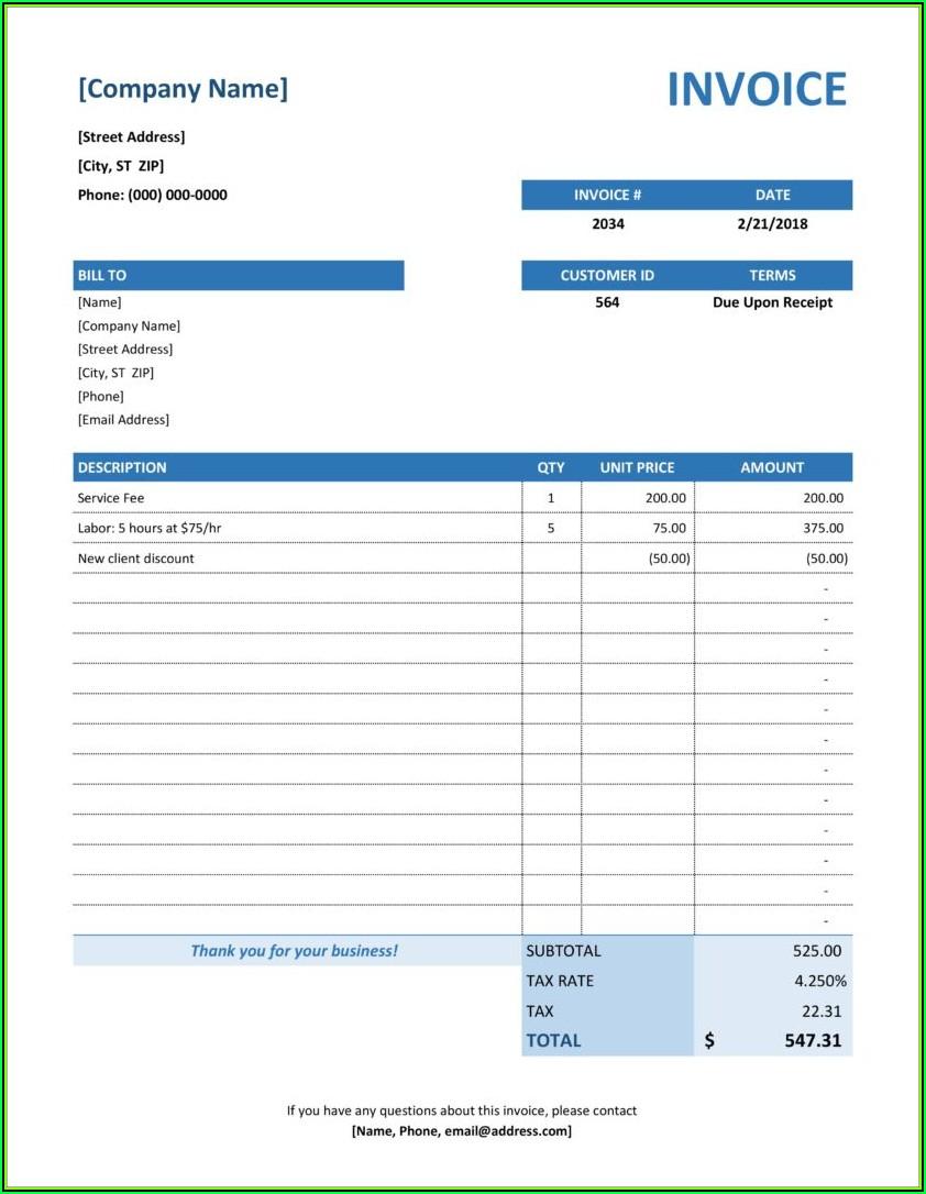 Microsoft Invoice Templates Free