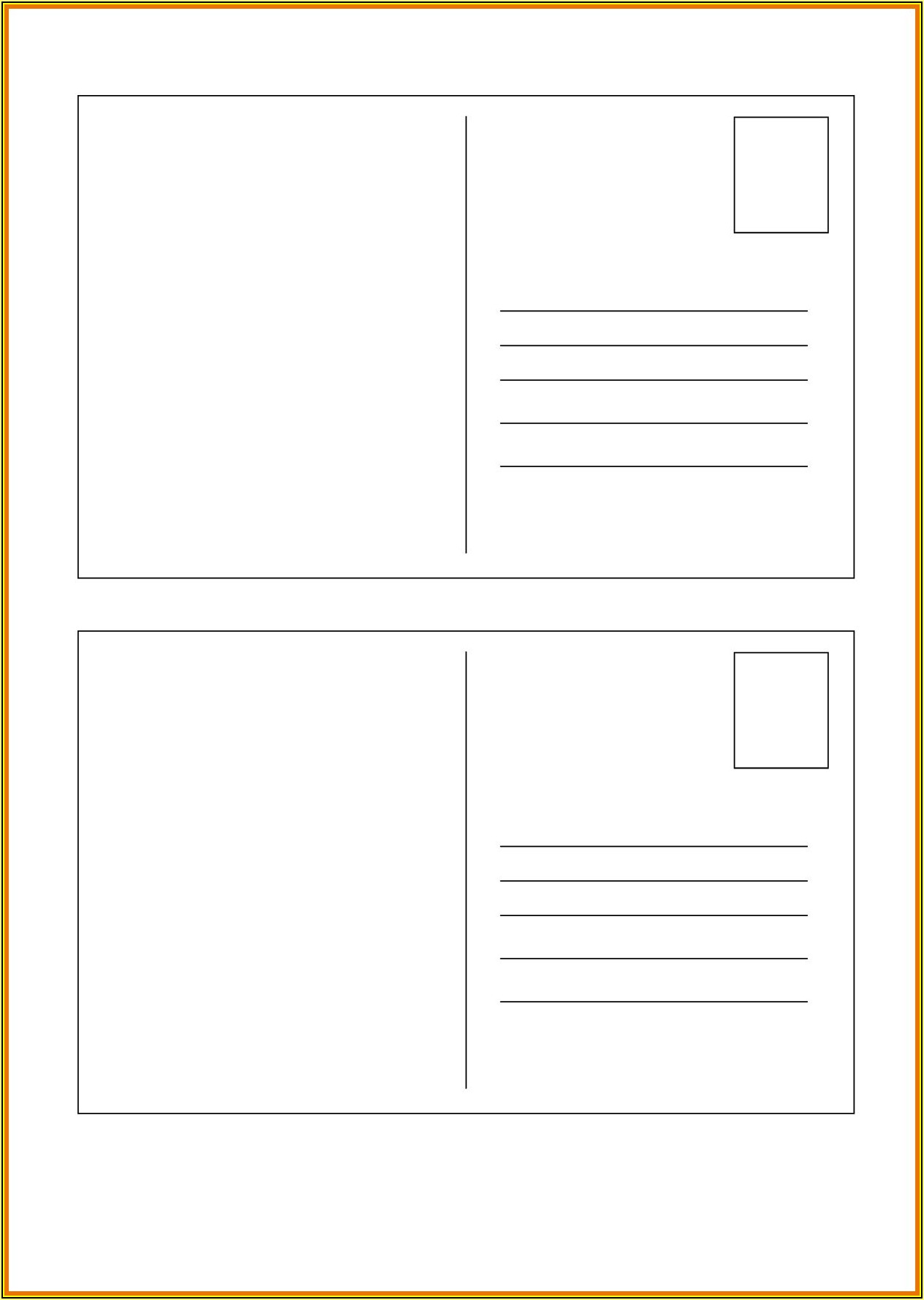 Microsoft Word Blank Postcard Template Free
